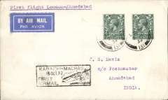 (GB External) TATA take over mails from IAW for Karachi-Madras route, London to Ahmedabad, bs 15/10, plain cover franked 8d, boxed 'Karachi-Madras/15 Oct 32/First Airmail' flight cachet, etiquette, flown by Neville Vintcent, Newall 60u (1996).