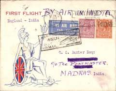 (GB External) London to Madras, first acceptance on extended London to Karachi  route, black Karachi to Madras cachet, b/s Madras 15/10, red/white/blue 'Brittania' souvenir cover franked 8d,  white/blue etiquette, Imperial Airways and TATA Airways.