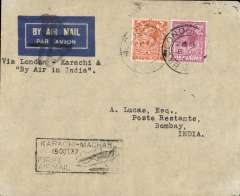 (GB External) TATA take over mails from IAW for Karachi-Madras route, London to Bombay, bs 15/10, franked 8d, 'Karachi-Madras' boxed flight cachet, etiquette cancelled by black double cross Jusqu'a applied at Bombay, imprint etiquette cover, flown by Neville Vintcent, Newall 60u. Francis Field authentication hs verso.