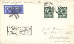 (GB External) TATA take over mails from IAW for Karachi-Madras route, London to Bombay, bs 15/10, franked 8d, boxed flight cachet, etiquette cancelled by fine black double cross Jusqu'a applied at Bombay, imprint etiquette cover, flown by Neville Vintcent, Newall 60u.