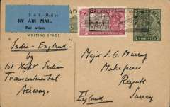 (India) Indian Transcontinental Airways, Calcutta to Karachi, 9p PSC with additional 3a, cancelled with 'Calcutta-Karachi/11 Jly 33' used as postmark, blue/black P&T - Mail 25 airmail etiquette.
