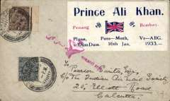 (India) Penang-Bombay by Prince Ali Khan, cover flown on return flight from Bombay to Calcutta, special label with details of flight, tied red arabic airmail 'Asmani Ghari' cachet, franked 1a 3p, canc Santa Cruz, Bombay, bs Calcutta, Park Street on return, signed Stephen Smith (ref Brown J, Indian Air Mails, 1995, #33-01).