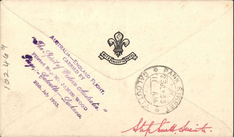 """(India) 20 July 1933 (AAMC.317) Calcutta - Lucknow, POA 21 Jl 33, flown cover, carried by James Wood in """"The Spirit of West Australia"""" whilst on his Perth to England flight; with violet 6-line cachet tieing Dum Dum Air Port label. The onward flight was delayed by the collapse of the undercarriage at Bandar Abbas. [16 flown]."""