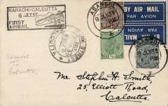 """(India) India Trans-Continental Airways, Asansol to Calcutta, 11/7 arrival ds on front, plain Edna Lorenz Lady Photographer PC, franked 1 1/2anna 3p canc Asanso; cds, black boxed """"Karachi-Calcutta/8 Jul 33/First Flight""""cachet, scarce tied TETE-BECHE etiquette IND-A-6carried on F/F Calcutta to Karachi. signed Stephen Smith verso."""