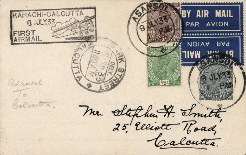 "(India) India Trans-Continental Airways, Asansol to Calcutta, 11/7 arival ds on front, plain Edna Lorenz Lady Photographer PC, franked 1 1/2anna 3p canc Asanso; cds, black boxed ""Karachi-Calcutta/8 Jul 33/First Flight""cachet, scarce tied TETE-BECHE etiquette IND-A-6carried on F/F Calcutta to Karachi. signed Stephen Smith verso."