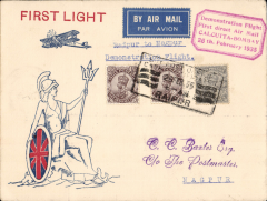 """(India) Bombay to Nagpur, bs 25/2, uncommon red/white/blue India Air Service Britannia with Union jack shield cover franked 2 annas tied by rectangular ' Use the Air Mail/24-Feb-35/Nagpur' advert as canceller,  red boxed """"Demonstration Flight/ First Direct Airmail/Bombay- Calcutta/25th February 1935"""" cachet. Uncommon destination."""