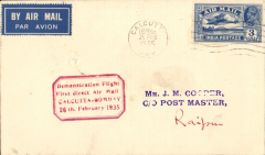 """(India) Calcutta to Raipur, bs 27/2, plain cover franked 3 annas, canc Calcutta cds, red boxed """"Demonstration Flight/ First Direct Airmail/Calcutta-Bombay/26th February 1935'. Uncommon destination."""