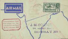 """(India) Calcutta to Bombay, bs 26/2, printed TATA Sons Ltd pale blue/dark blue souvenir 'Airspeed Envoy' cover, franked 2 annas with broken lower frame line under 'A', red boxed """"Demonstration Flight/ First Direct Airmail Calcutta to Bombay"""" cachet,"""