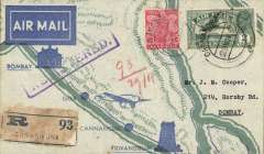(India) Tata new service, Cannacore to Bombay, bs 30/11, registered (label) printed TATA Sons Ltd pale blue/dark blue souvenir 'route map' cover, franked 5 annas canc Cannacore cds'. Only 25 flown.