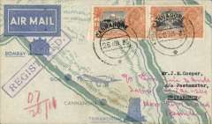 (India) Tata new service, Cannacore to Trivandrum, bs 28/11, registered (label) printed TATA Sons Ltd pale blue/dark blue souvenir 'route map' cover, franked 5 annas canc Cannacore cds'. Only 25 flown.