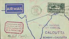 """(India) Bombay to Calcutta, bs 25/2, printed TATA Sons Ltd pale blue/dark blue souvenir 'Airspeed Envoy' cover, franked 2 annas, red framed """"Demonstration Flight/ First Direct Airmail Calcutta to Bombay"""" cachet,  Signed by the pilot Neville Vintcent."""