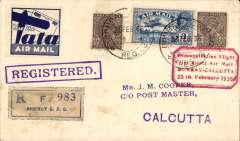 """(India) Special TATA label applied to a registered cover advertising the new Bombay-Calcutta airmail service,  plain cover franked 5 anna, blue/white Tata label, registration label, red framed """"Demonstration Flight/ First Direct Airmail Calcutta to Bombay"""" cachet, and fine purple framed 'Registered' hs."""