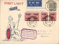 """(India) Tatangar to Calcutta, bs 25/2, uncommon red/white/blue India Air Service Britannia with Union jack shield cover franked 3 annas + 9p/1a x4, fine strike purple framed """"Demonstration Flight/ First Direct Airmail Calcutta to Bombay"""" cachet,"""