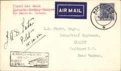 (India) F/F Karachi-Madras, bs Saidapet 16/10 carried on the inaugural Karachi to Madras service, black boxed ' Karachi-Madras/15 Oct 32/First Airmail'  flight cachet on front, plain cover, franked 3 annas 6p, canc Karachi Air cds. Bears signature 'J.R.D.Tata/Pilot/15.10.32'. PLEASE NOTE: An eminent Indian aerophilatelist has questioned the authenticity of the signature on this item and has kindly drawn our attention to three genuine signatures featured on his JRD Tata gallery web-site http://www.airindiacollector.com/jrd-tata-gallery.html  .We have now concluded that the signature on Lot 295 is not genuine have amended the original description and price accordingly.