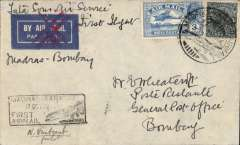 (India) Tata Sons Ltd, F/F Madras to Bombay, bs 18/10, imprint airmail etiquette cover franked 3a3p canc Bellary cds, etiquette cancelled by red double cross Jusqu'a applied in Bombay, black framed 'Madras-Karachi/18 Oct 32 flight cachet used in Bombay only, signed by the pilot Neville Vintcent.