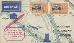 (India) TATA Bombay-Trivandrum, bs 29/10, attractive green/pale green.grey printed 'map of route' souvenir cover, franked 2x 2 1/2 anna canc Bombay cds, red framed 'Demonstration Flight/First Direct Air Mail/Bombay-Trivandrum/29 October 1935'. Ref 35-70, Brown J, Indian Air Mails, 1995. Scarce item, only 50 flown.
