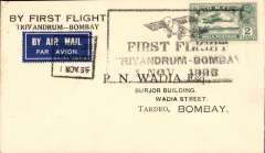 (India) TATA, F/F Trivandrum to Bombay, bs 2/11, plain cover franked 2 annas canc special boxed postmark with monoplane 'First Flight/Trivandrum-Bombay/1 Nov 1935'.