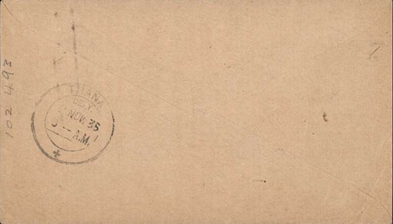 (India) TATA, F/F Trivandrum to Bombay, bs Thana 2/11, plain cover franked 2 annas canc special boxed postmark with monoplane 'First Flight/Trivandrum-Bombay/1 Nov 1935'.