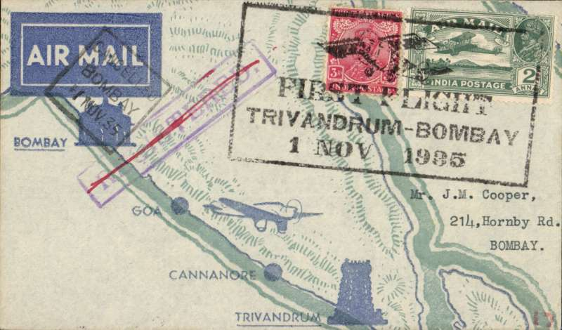 (India) TATA Trivandrum to Bombay, bs 2/11, attractive green/pale green.grey printed 'map of route' souvenir cover, franked 2 anna 3p canc canc special boxed postmark with monoplane 'First Flight/Trivandrum-Bombay/1 Nov 1935'.