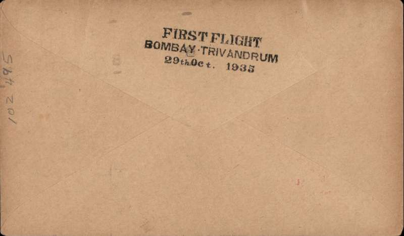 (India) TATA Bombay-Trivandrum, bs 29/11, plain cover, franked 1 anna canc Bombay cds, red framed 'Demonstration Flight/First Direct Air Mail/Bombay-Trivandrum/29 October 1935'. Ref 35-70, Brown J, Indian Air Mails, 1995. Scarce item, only 50 flown.