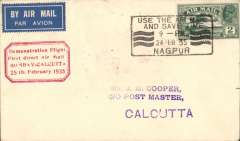 """(India) Bombay to Calcutta, bs 25/2, franked 2 annas with red boxed """"Demonstration Flight/ First Direct Airmail Calcutta to Bombay"""" cachet, plain airmail etiquette cover franked 2 annas."""
