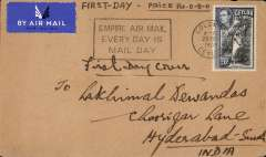 "(Ceylon) F/F second stage of the Empire Airmail Service, Colombo to Hyderabad, bs 2/3, airmail etiquette cover franked 20c, black framed ""Empire Air Mail/Every Day Is/Mail Day"" slogan advertising the EAMS."