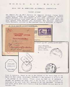 (India) Third stage Empire Air Mail Scheme, Karachi to New Zealand, bs 17/8, plain cover franked 2 annas 6p, canc 'Use the Air Mail/And Save Time/Karachi' dated advertising hs. Flown to Australia, thence by sea to NZ with message 'Please Return by First All-Up Australia-England', but missed this flight. So received an uncommon red hexagonal 'NZ/Auckland/22 Aug 1938/Unclaimed' hs. Also attached to the front is a buff/red Calcutta Dead Letter Office slip with the senders name and address in ms.An unusual item nicely presented on a album leaf.