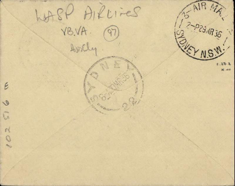 (Australia) WASP F/F Broken Hill to Sydney, bs 28/3, airmail etiquette cover franked 5d, two fine purple returned to sender hand stamps on front & Sydney unclaimed 3/4 cds of the same date.