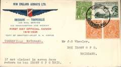 "(Australia) New England Airways Ltd,  first flight return cover, Townsville to Brisbane carried on the ""City of Grafton"" official company cover franked 5d rate, canc single ring cds. virtually complete 17/9 Brisbane machine slogan receiver on reverse."