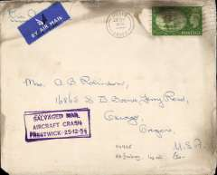 "(Recovered Interrupted Mail) BOAC B377 Stratocruiser ""Cathey"" crash at Prestwick, UK, en route from Grays, Essex to New York, plain cover, 17x14cm, franked festival 2/6d, slightly doubled violet ""Salvaged Mail/Aircraft Crash/Prestwick 25-12-54"" boxed cachet on front, some charring along top edge. The white strip along the top edge verso is where the cover was not completely covered by its plastic wallet when scanned."