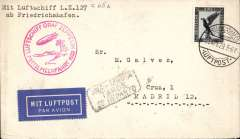 (Airship) Graf Zeppelin Mediterranian flight, Germany to Spain, unofficial drop at Seville, bs 24/4 and on to Madrid 25/4, red fligh confirmation cachet.