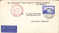 (Airship) Graf Zeppelin South America flight, Germany to Spain, landed at Seville 19/5, airmail etiquette cover franked 2Rm canc Fredrichshafen 18/5, red flight confirmation cachet.