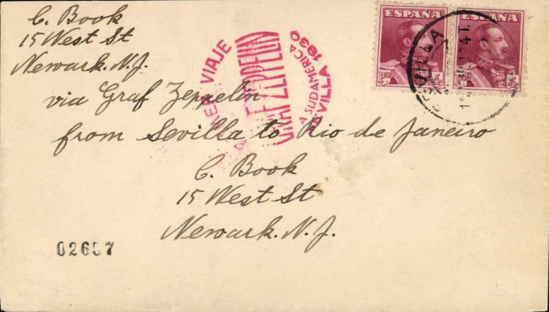 (Airship) Graf Zeppelin 1st SAF, Seville to Rio de Janeiro, bs 25/5, plain envelope franked 8 pts, red flight confirmation cachet.