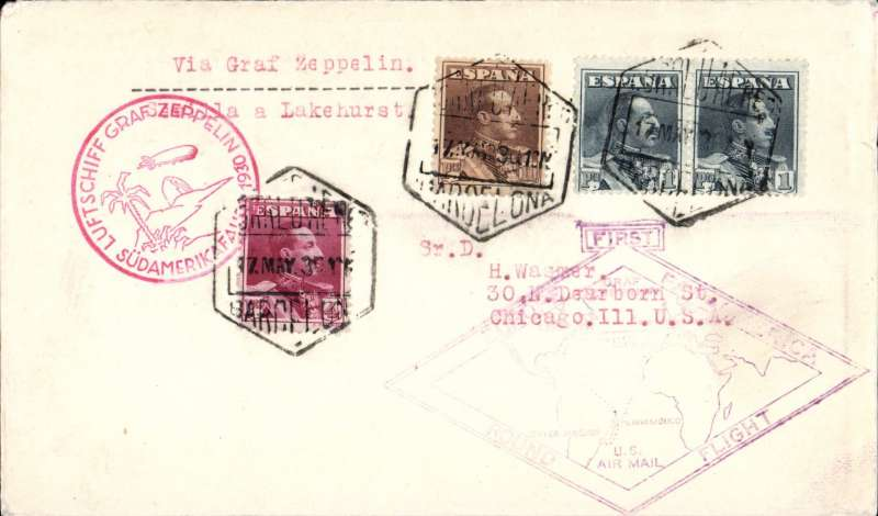 (Airship) Graf Zeppelin, Barcelona to Chicago, carried from Seville to Lakehurst, green Zeppelin bs 31/5, plain cover franked 16 pf, red 'Sudamerika' flight cachet, violet 'Round the World Flight' cachet.