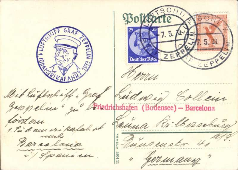 (Airship) Graf Zeppelin 1st SAF, Barcelona drop, card franked 50pf and 25pf canc 'on b oard' 7.5.33 ds, blue flight confirmation cachet, red 'Friedrichshafen (Bodensee) - Barcelona' hs,