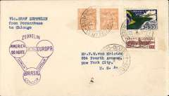 (Airship) Graf Zeppelin, Recife to Chicago, bs 26/10, plain cover franked 3R800, fine strike purple flight confirmation cachet.