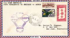 (Airship) Graf Zeppelin, Recife to Miami, bs 23/10, Roessler attractive small check cover franked 3R800, fine strike purple flight confirmation cachet.