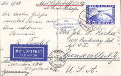 (Airship) Graf Zeppelin, Friedrichshafen to  Lakehurst, New York arrival ds on front, B&W PPC of Passau franked Zeppelin 2RM canc Friedrichshafen/Luftpost cds, blue oval confirmation stamp. Accompaied by 2002 Leder expertisation certificate.