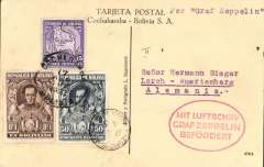 (Airship) Graf Zeppelin, Bolivia dispatch Recife to Friedrichshafen, bs 27/4, attractive PPC showing statue of Simon Bolivar franked 15c,50c and $1 Bolivia stamps, oval red flight confirmation cachet.