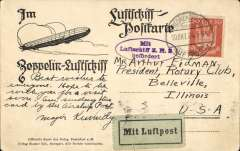 "(Airship) ZR3 delivery flight, Germany to US, bs 15/10, B&W PPC showing Friedburg, franked  50pf, canc Friedrichshafen dr. cds, violet oval flight ZR3 confirmation cachet, black/green ""Mit Luftpost"" vignette,"