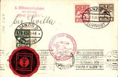 (Airship) Graf Zeppelin, Danzig accept for Friedrichshafen-Seville first landing, Seville 19 May arrival ds on front,  B&W PPC showing GZ franked 1G50 DEanzig stamps canc oval 'Danzig/12.5.30/Luftpost ds, red flight confirmation cachet, attractive circular black/red private seal on front.