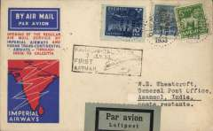 (Sweden) Sweden to India, rare acceptance of Swedish mail for carriage on the F/F of the extension of the Indian route to Calcutta, Blotberge to Asansol ,via 'Berlin 2/7, Berlin-Sassnitz Hafen 2/7,  Athens 3/7 and Jodhpur 8/7, red/white/blue souvenir cover franked 125 ore canc Blotberge 1/7/33 cds, black framed 'Karachi-Calcutta/7 Jly 33/First Airmail' flight cachet on front, framed Jhodpur delivery confirmation verso, black/grey blue etiquette, Imperial Airways/Indian Trans-Continental Airways.  Scare item in fine condition with great routing.