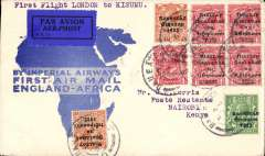 "(Ireland) Dublin acceptance for Nairobi, Kenya, bs 11/3, via Kisumu 10/3, carried on the first London-East Africa service, official blue/white ""map"" cover, franked 9 1/2d GV 1922 opts, canc Baile Atha Cliath cds's, typed endorsement ""First Flight London to Kisumu"", black/blue 1926 P25 etiquette rated rare by Mair.Imperial AW/Airways House/London hs verso, Imperial Airways. Scarce acceptance."