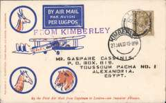 (Bechuanaland) RARE first acceptance of airmail from British Bechuanaland for carriage on the F/F Regular Service from South Africa to England, Lobatsi to Cairo, bs 12/2 via Johannesburg 27/1, blue/orange/cream Robertson souvenir cover addressed to W Tunstall, franked 1/- canc Lobatsi cds, purple straight line 'From Kimberley' hs, Imperial Airways. A superb item in pristine condition.
