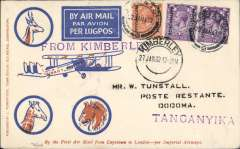 (Bechuanaland) RARE first acceptance of airmail from British Bechuanaland for carriage on the F/F Regular Service from South Africa to England, Lobatsi to Dodoma, Tanganyika, bs 7/2 ,via Mbeya blue/orange/cream Robertson souvenir cover addressed to W Tunstall, franked GV 1/- canc Lobatsi cds, purple straight line 'From Kimberley' hs, Imperial Airways. A fine item in pristine condition.