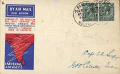 (Ireland) First acceptance Irish mail for Imperial Airways/ITCA first flight London to Calcutta, bs 9/7, via Karachi 8/7, plain Smye cover, franked GB 4d x2, canc fine strike 'Dun Laoghaire/Paquebot/Posted at Sea' cds, verso black rectangular 'Karachi-Calcutta/8 Jly 33/First Airmail' cachet and Francis Field authentication hs .