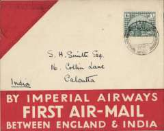 (Iraq) First acceptance of airmail from Iraq for carriage on the Imperial Airways first regular service from Croydon to Karachi, Basra to Calcutta, bs 16/4, red/cream souvenir cover, franked GV 1/-. Flown F/F Basra to Karachi then fowarded to Stephen Smith's home address in Calcutta to ensure safe receipt. Authenticated by original (not facsimile) signature of Stephen Smith.  A fine item in pristine condition.