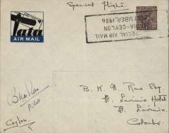 (India) Extension to Ceylon of Karachi-Madras service, blue/black TATA imprint etiquette airmail cover franked 1 anna, canc special 'India-Ceylon/December 1936' used as canceller, signed by pilot B.K.N.  Rao. Scarce signature.