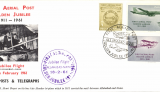 (India) Flown cover commemorating 50th anniv First Aerial Post from Allahbad to Naini, special cachets, official printed long cover showing photograph of Henri Pequet and Humber bi-plane.