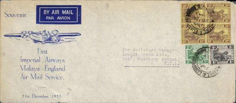 "(Malaya ) Malaya to England, souvenir pale grey/blue souvenir cover  ""First/Imperial Airways/Malaya-Englnd/Air Mail Service/31st December, 1933""', franked 53c Malay Federated States stamps canc Kuala Lumpur cds. Scarce cover."